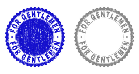 Grunge FOR GENTLEMEN stamp seals isolated on a white background. Rosette seals with distress texture in blue and gray colors. Vector rubber stamp imprint of FOR GENTLEMEN label inside round rosette. Çizim