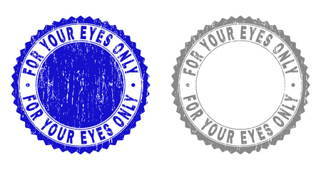 Grunge FOR YOUR EYES ONLY stamp seals isolated on a white background. Rosette seals with grunge texture in blue and grey colors. Vector rubber overlay of FOR YOUR EYES ONLY title inside round rosette. Ilustração