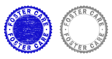 Grunge FOSTER CARE stamp seals isolated on a white background. Rosette seals with grunge texture in blue and gray colors. Vector rubber stamp imitation of FOSTER CARE label inside round rosette.  イラスト・ベクター素材
