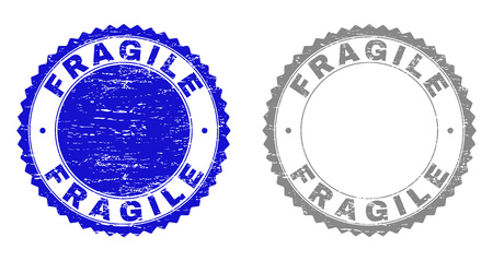 Grunge FRAGILE stamp seals isolated on a white background. Rosette seals with grunge texture in blue and grey colors. Vector rubber stamp imprint of FRAGILE label inside round rosette. Illustration