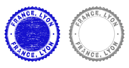 Grunge FRANCE, LYON stamp seals isolated on a white background. Rosette seals with distress texture in blue and grey colors. Vector rubber stamp imprint of FRANCE, LYON title inside round rosette.