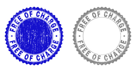 Grunge FREE OF CHARGE stamp seals isolated on a white background. Rosette seals with distress texture in blue and gray colors. Vector rubber watermark of FREE OF CHARGE text inside round rosette.