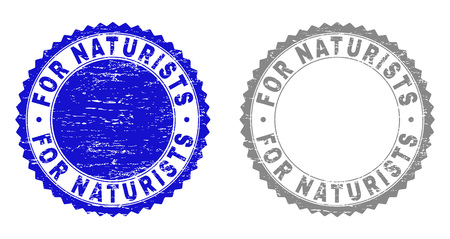 Grunge FOR NATURISTS stamp seals isolated on a white background. Rosette seals with grunge texture in blue and gray colors. Vector rubber stamp imprint of FOR NATURISTS tag inside round rosette.