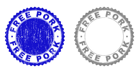 Grunge FREE PORK stamp seals isolated on a white background. Rosette seals with grunge texture in blue and grey colors. Vector rubber stamp imitation of FREE PORK text inside round rosette. Ilustração