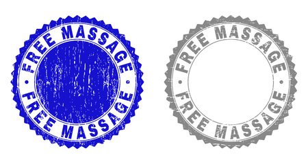 Grunge FREE MASSAGE stamp seals isolated on a white background. Rosette seals with grunge texture in blue and gray colors. Vector rubber overlay of FREE MASSAGE title inside round rosette.