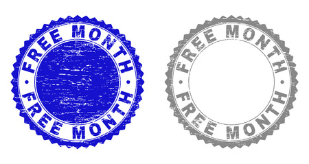 Grunge FREE MONTH stamp seals isolated on a white background. Rosette seals with grunge texture in blue and gray colors. Vector rubber stamp imitation of FREE MONTH label inside round rosette.