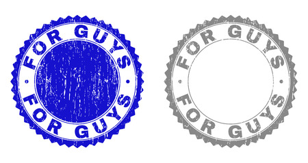 Grunge FOR GUYS stamp seals isolated on a white background. Rosette seals with grunge texture in blue and grey colors. Vector rubber stamp imprint of FOR GUYS label inside round rosette. Çizim