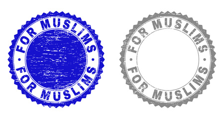 Grunge FOR MUSLIMS watermarks isolated on a white background. Rosette seals with grunge texture in blue and grey colors. Vector rubber stamp imprint of FOR MUSLIMS caption inside round rosette.