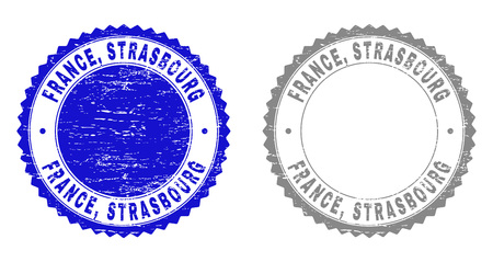 Grunge FRANCE, STRASBOURG stamp seals isolated on a white background. Rosette seals with grunge texture in blue and grey colors. Vector rubber stamp imitation of FRANCE, Illustration