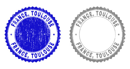 Grunge FRANCE, TOULOUSE stamp seals isolated on a white background. Rosette seals with grunge texture in blue and grey colors. Vector rubber stamp imprint of FRANCE,