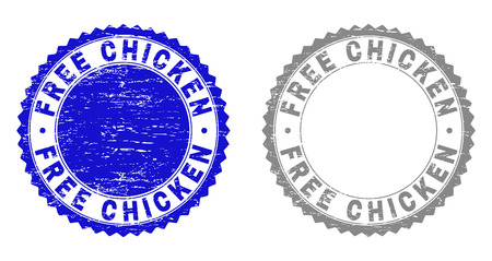 Grunge FREE CHICKEN stamp seals isolated on a white background. Rosette seals with grunge texture in blue and grey colors. Vector rubber watermark of FREE CHICKEN label inside round rosette. Ilustração