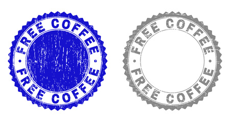 Grunge FREE COFFEE stamp seals isolated on a white background. Rosette seals with grunge texture in blue and gray colors. Vector rubber stamp imprint of FREE COFFEE text inside round rosette.