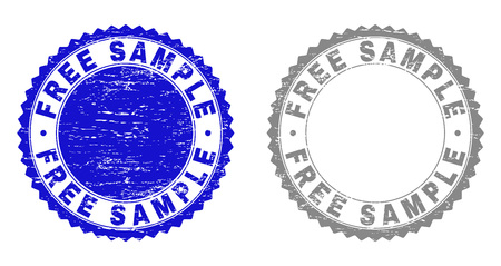 Grunge FREE SAMPLE stamp seals isolated on a white background. Rosette seals with distress texture in blue and gray colors. Vector rubber stamp imprint of FREE SAMPLE caption inside round rosette.