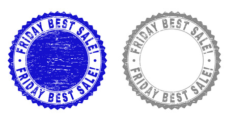 Grunge FRIDAY BEST SALE! stamp seals isolated on a white background. Rosette seals with grunge texture in blue and gray colors. Ilustração