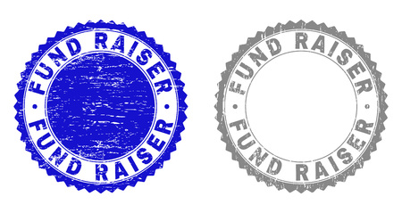 Grunge FUND RAISER stamp seals isolated on a white background. Rosette seals with grunge texture in blue and gray colors. Vector rubber stamp imprint of FUND RAISER tag inside round rosette. Illustration