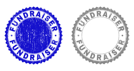 Grunge FUNDRAISER stamp seals isolated on a white background. Rosette seals with grunge texture in blue and grey colors. Vector rubber stamp imprint of FUNDRAISER caption inside round rosette. Illustration