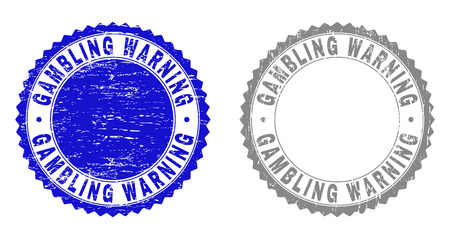 Grunge GAMBLING WARNING stamp seals isolated on a white background. Rosette seals with grunge texture in blue and gray colors. Vector rubber watermark of GAMBLING WARNING title inside round rosette.