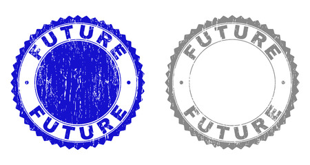 Grunge FUTURE stamp seals isolated on a white background. Rosette seals with grunge texture in blue and grey colors. Vector rubber stamp imitation of FUTURE tag inside round rosette. 일러스트