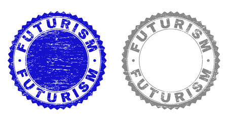Grunge FUTURISM stamp seals isolated on a white background. Rosette seals with grunge texture in blue and gray colors. Vector rubber stamp imprint of FUTURISM text inside round rosette.