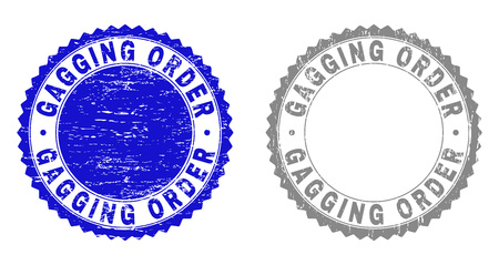 Grunge GAGGING ORDER stamp seals isolated on a white background. Rosette seals with grunge texture in blue and grey colors. Vector rubber stamp imprint of GAGGING ORDER label inside round rosette.