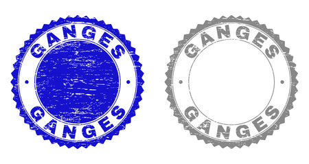 Grunge GANGES stamp seals isolated on a white background. Rosette seals with grunge texture in blue and grey colors. Vector rubber overlay of GANGES tag inside round rosette. Illustration