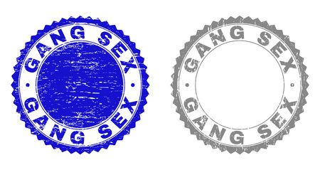 Grunge GANG SEX stamp seals isolated on a white background. Rosette seals with grunge texture in blue and gray colors. Vector rubber overlay of GANG SEX label inside round rosette. Illustration