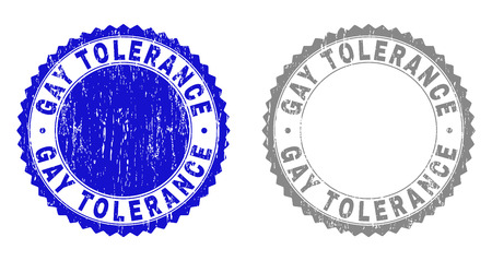 Grunge GAY TOLERANCE stamp seals isolated on a white background. Rosette seals with grunge texture in blue and gray colors. Vector rubber stamp imitation of GAY TOLERANCE title inside round rosette.
