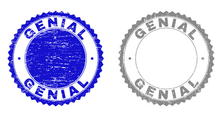 Grunge GENIAL stamp seals isolated on a white background. Rosette seals with grunge texture in blue and grey colors. Vector rubber stamp imprint of GENIAL title inside round rosette. Vector Illustration