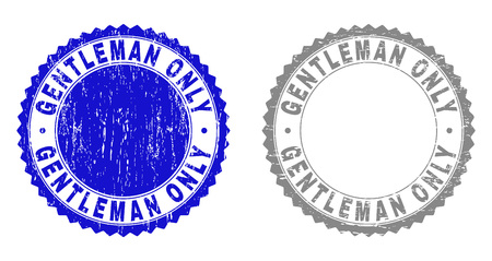 Grunge GENTLEMAN ONLY stamp seals isolated on a white background. Rosette seals with grunge texture in blue and grey colors. Vector rubber stamp imitation of GENTLEMAN ONLY text inside round rosette.