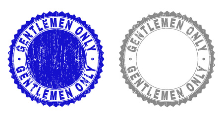 Grunge GENTLEMEN ONLY stamp seals isolated on a white background. Rosette seals with grunge texture in blue and grey colors. Vector rubber watermark of GENTLEMEN ONLY tag inside round rosette.