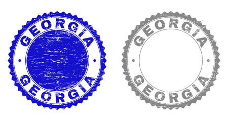 Grunge GEORGIA stamp seals isolated on a white background. Rosette seals with grunge texture in blue and gray colors. Vector rubber stamp imitation of GEORGIA caption inside round rosette.