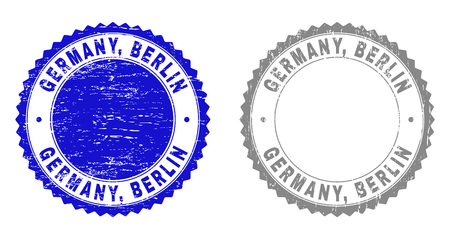 Grunge GERMANY, BERLIN watermarks isolated on a white background. Rosette seals with grunge texture in blue and gray colors. Vector rubber stamp imprint of GERMANY, BERLIN title inside round rosette.