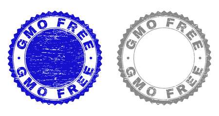 Grunge GMO FREE stamp seals isolated on a white background. Rosette seals with grunge texture in blue and gray colors. Vector rubber stamp imprint of GMO FREE text inside round rosette.
