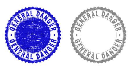 Grunge GENERAL DANGER stamp seals isolated on a white background. Rosette seals with grunge texture in blue and gray colors. Vector rubber stamp imitation of GENERAL DANGER text inside round rosette. 向量圖像