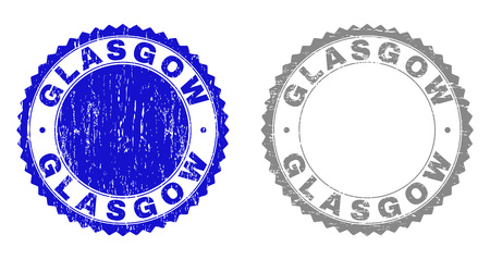 Grunge GLASGOW stamp seals isolated on a white background. Rosette seals with grunge texture in blue and grey colors. Vector rubber stamp imprint of GLASGOW caption inside round rosette.