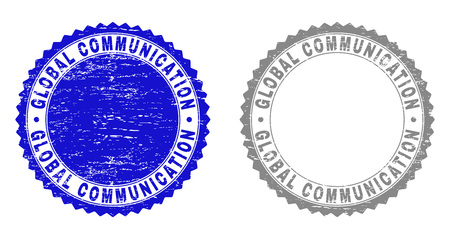 Grunge GLOBAL COMMUNICATION watermarks isolated on a white background. Rosette seals with grunge texture in blue and grey colors.