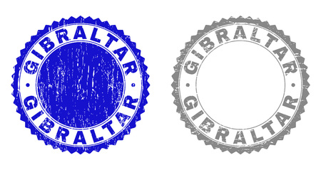 Grunge GIBRALTAR stamp seals isolated on a white background. Rosette seals with grunge texture in blue and gray colors. Vector rubber stamp imitation of GIBRALTAR title inside round rosette. Illustration