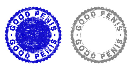 Grunge GOOD PENIS stamp seals isolated on a white background. Rosette seals with grunge texture in blue and gray colors. Vector rubber stamp imitation of GOOD PENIS caption inside round rosette.