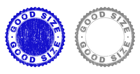 Grunge GOOD SIZE stamp seals isolated on a white background. Rosette seals with distress texture in blue and gray colors. Vector rubber stamp imprint of GOOD SIZE tag inside round rosette.
