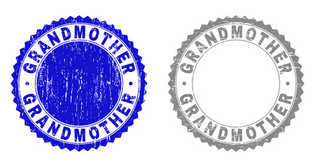 Grunge GRANDMOTHER stamp seals isolated on a white background. Rosette seals with grunge texture in blue and grey colors. Vector rubber stamp imitation of GRANDMOTHER tag inside round rosette.