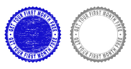 Grunge GET YOUR FIRST MONTH FREE stamp seals isolated on a white background. Rosette seals with grunge texture in blue and grey colors.