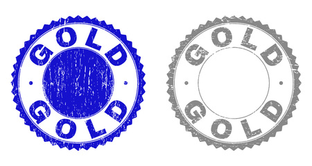 Grunge GOLD stamp seals isolated on a white background. Rosette seals with distress texture in blue and gray colors. Vector rubber stamp imitation of GOLD label inside round rosette.