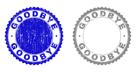 Grunge GOODBYE stamp seals isolated on a white background. Rosette seals with grunge texture in blue and grey colors. Vector rubber watermark of GOODBYE caption inside round rosette. Ilustracje wektorowe