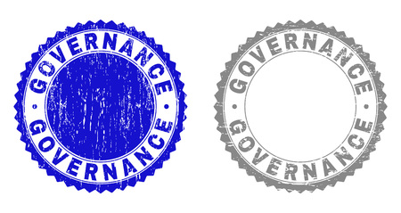 Grunge GOVERNANCE stamps isolated on a white background. Rosette seals with grunge texture in blue and gray colors. Vector rubber stamp imprint of GOVERNANCE caption inside round rosette.
