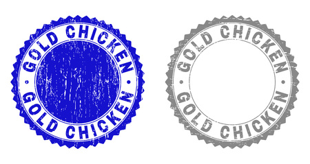 Grunge GOLD CHICKEN stamp seals isolated on a white background. Rosette seals with grunge texture in blue and gray colors. Vector rubber stamp imitation of GOLD CHICKEN tag inside round rosette.
