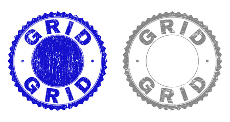 Grunge GRID stamp seals isolated on a white background. Rosette seals with grunge texture in blue and grey colors. Vector rubber stamp imprint of GRID caption inside round rosette.
