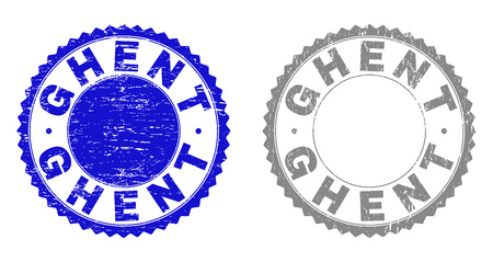 Grunge GHENT stamp seals isolated on a white background. Rosette seals with distress texture in blue and gray colors. Vector rubber stamp imprint of GHENT title inside round rosette.