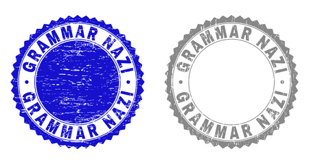 Grunge GRAMMAR NAZI stamp seals isolated on a white background. Rosette seals with grunge texture in blue and gray colors. Vector rubber stamp imprint of GRAMMAR NAZI caption inside round rosette.
