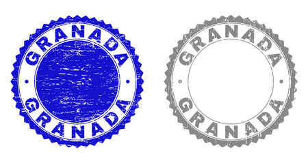 Grunge GRANADA stamp seals isolated on a white background. Rosette seals with grunge texture in blue and grey colors. Vector rubber stamp imprint of GRANADA title inside round rosette.