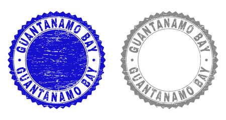 Grunge GUANTANAMO BAY stamp seals isolated on a white background. Rosette seals with grunge texture in blue and gray colors. Vector rubber overlay of GUANTANAMO BAY label inside round rosette. Vector Illustration